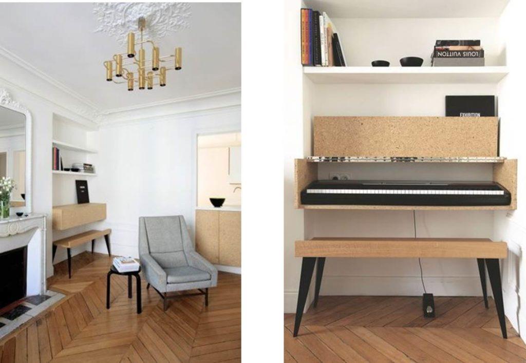 Planche tendance - aménagement de l'espace sous la fenêtre pour intégrer un bureau, un piano et des rangements