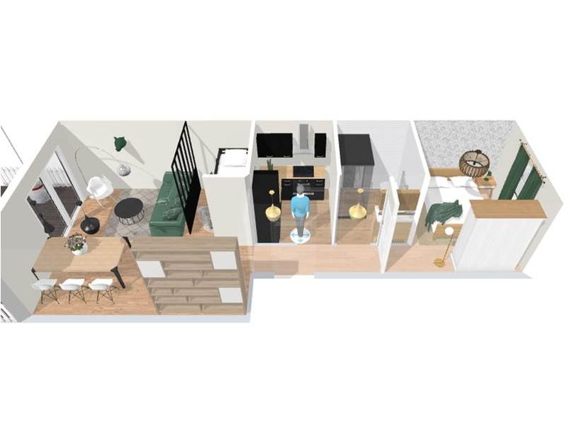 Aménagement 3D - aménagement complet, matériaux et déco, d'un appartement tendance « montagne chic »