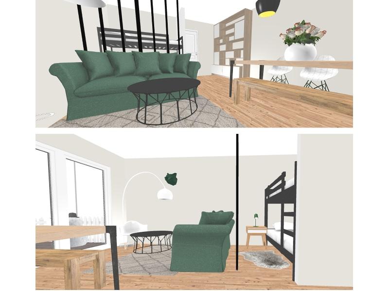 Vue 3D salon - aménagement complet, matériaux et déco, d'un appartement tendance « montagne chic »