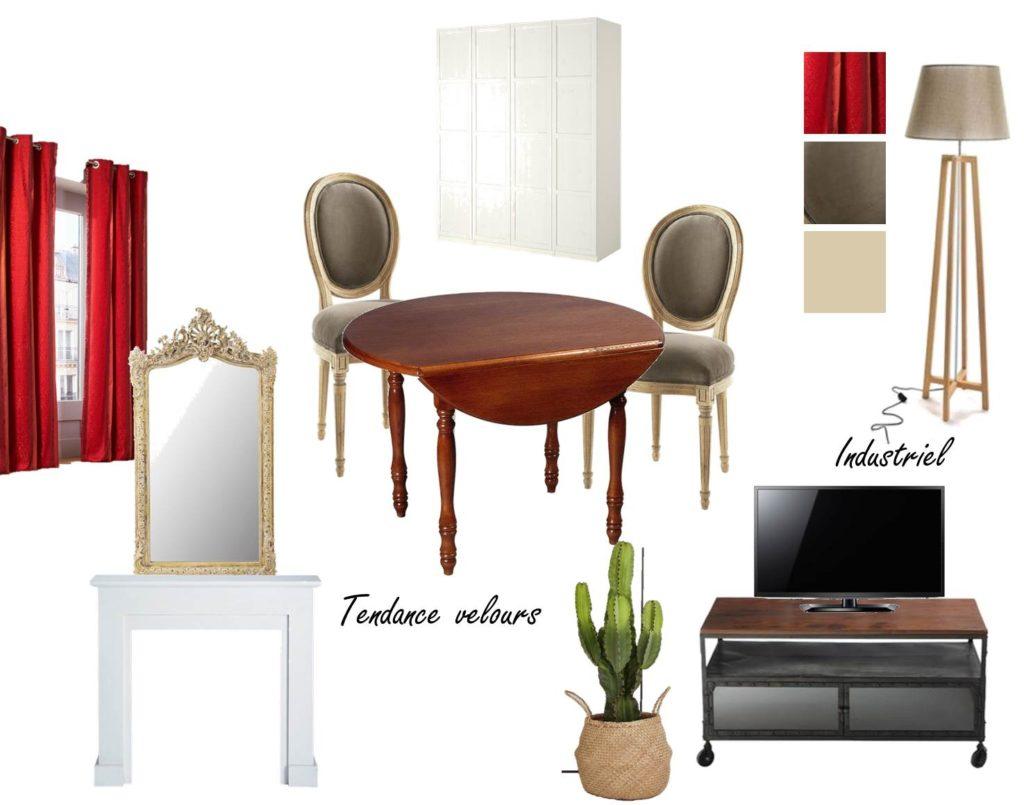 Planche tendance - aménager une pièce 2 fois plus grande par rapport à l'appartement précédent, bien identifier l'espace salon et l'espace salle à manger