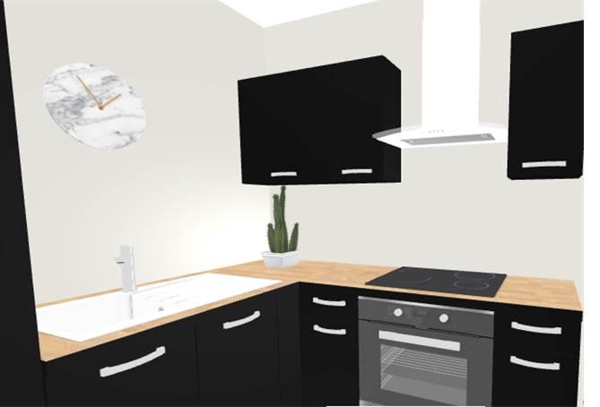 Vue 3D cuisine - aménagement complet, matériaux et déco, d'un appartement tendance « montagne chic »