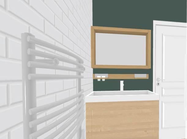 Vue 3D salle de bain - aménagement complet, matériaux et déco, d'un appartement tendance « montagne chic »