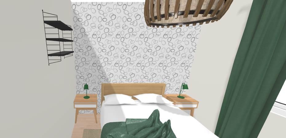 Vue 3D chambre - aménagement complet, matériaux et déco, d'un appartement tendance « montagne chic »