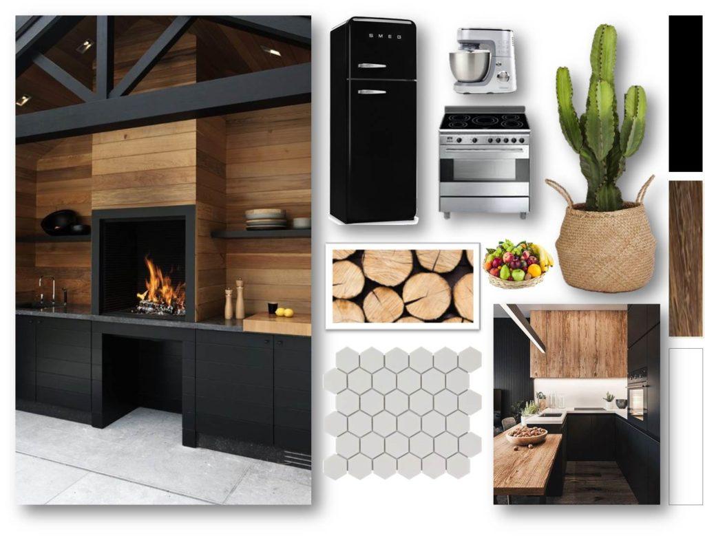 Planche tendance et mobilier cuisine - aménagement complet, matériaux et déco, d'un appartement tendance « montagne chic »