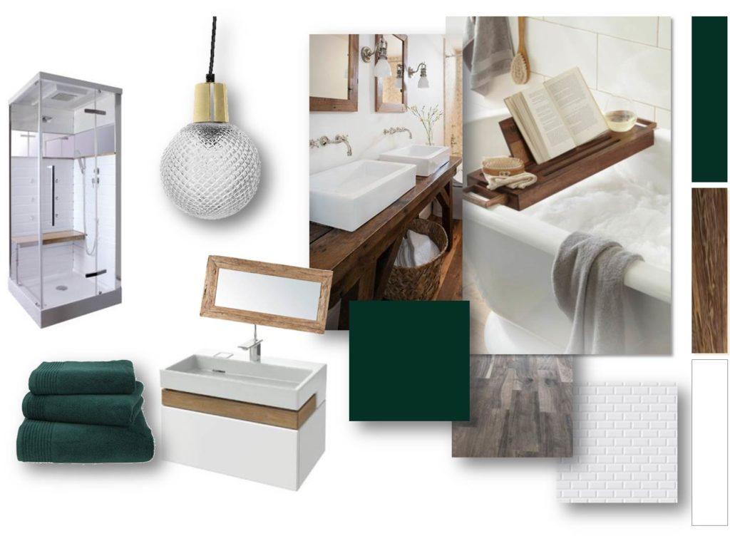 Planche tendance et mobilier salle de bain - aménagement complet, matériaux et déco, d'un appartement tendance « montagne chic »