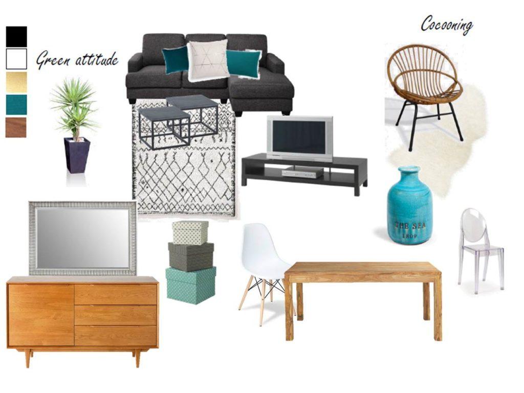 Planche tendance - aménagement d'une grande pièce de vie en séparant l'espace nuit du salon avec intégration des éléments meubles et déco déjà existants