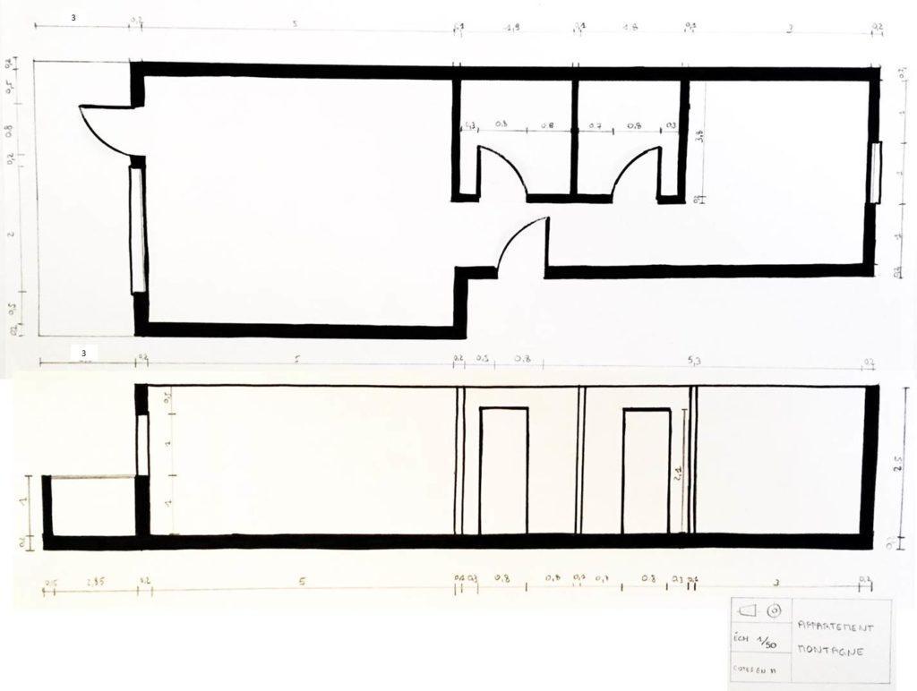 Plan technique - aménagement complet, matériaux et déco, d'un appartement tendance « montagne chic »