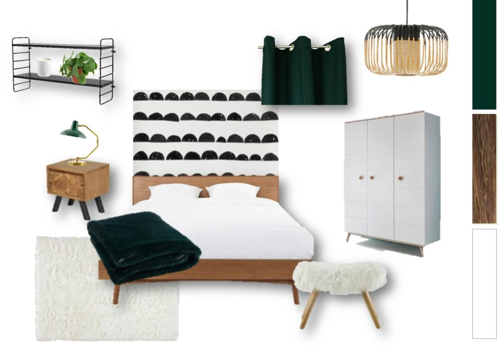 Planche tendance et mobilier chambre - aménagement complet, matériaux et déco, d'un appartement tendance « montagne chic »
