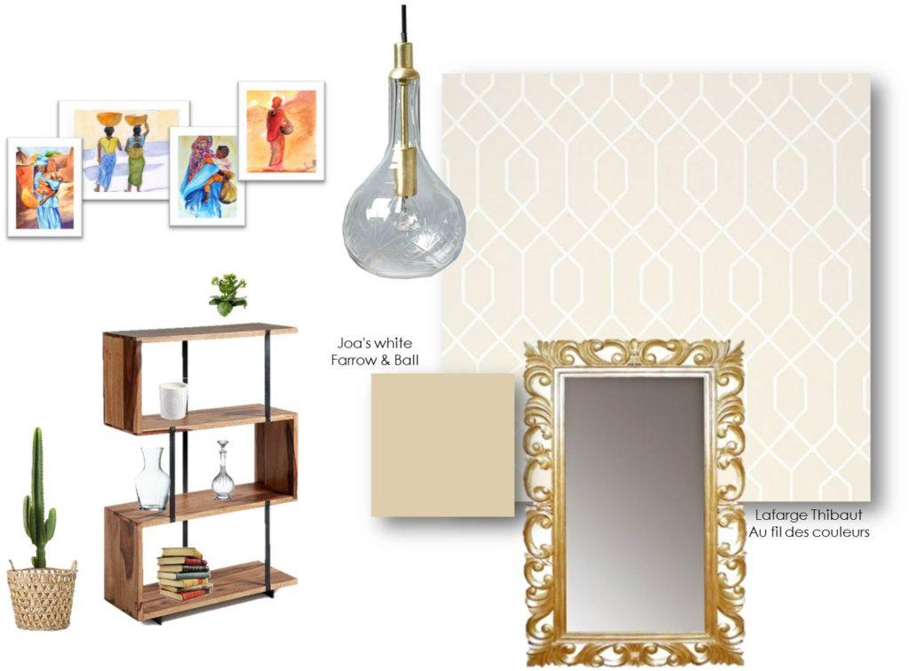 Planche matériaux et shopping - rénovation d'un couloir dans les tons de beige