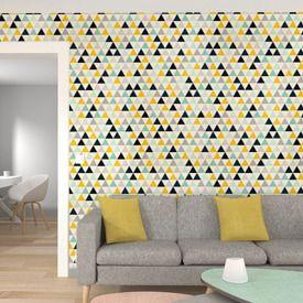 papier peint moutarde dans un salon gris