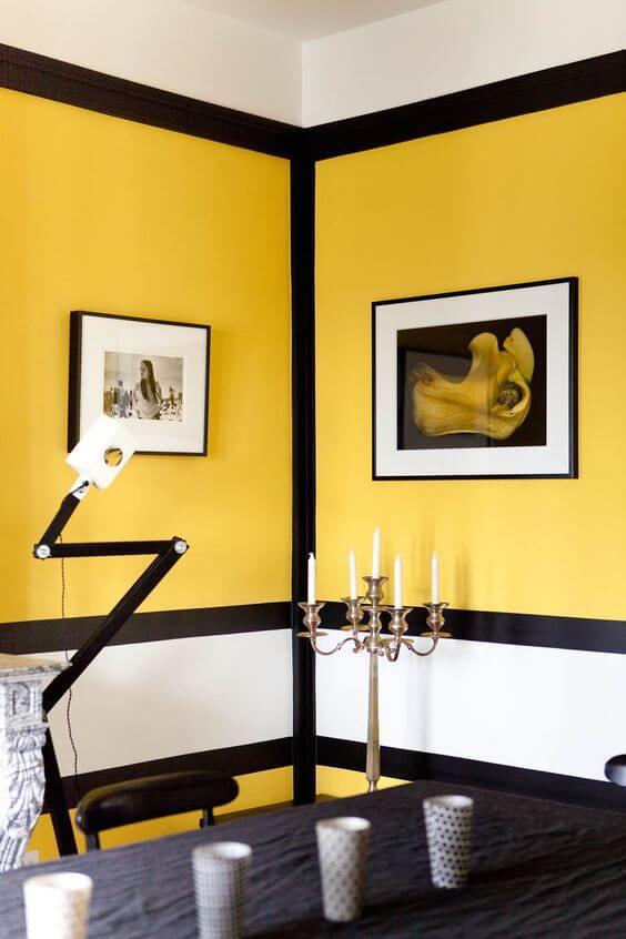 salle à manger noir blanche et moutarde sarah lavoine