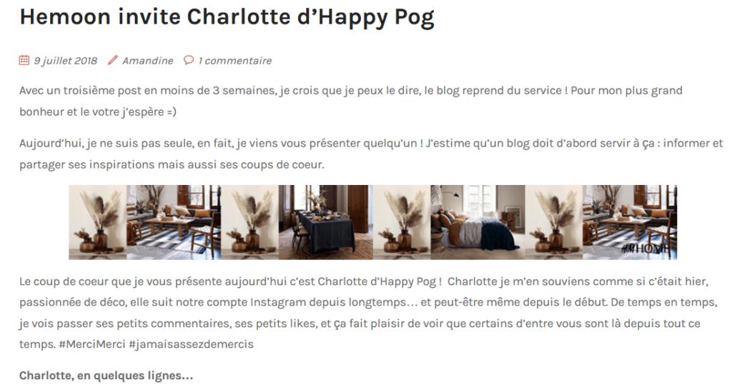 parution happy pog sur le blog d'amandine by hemoon