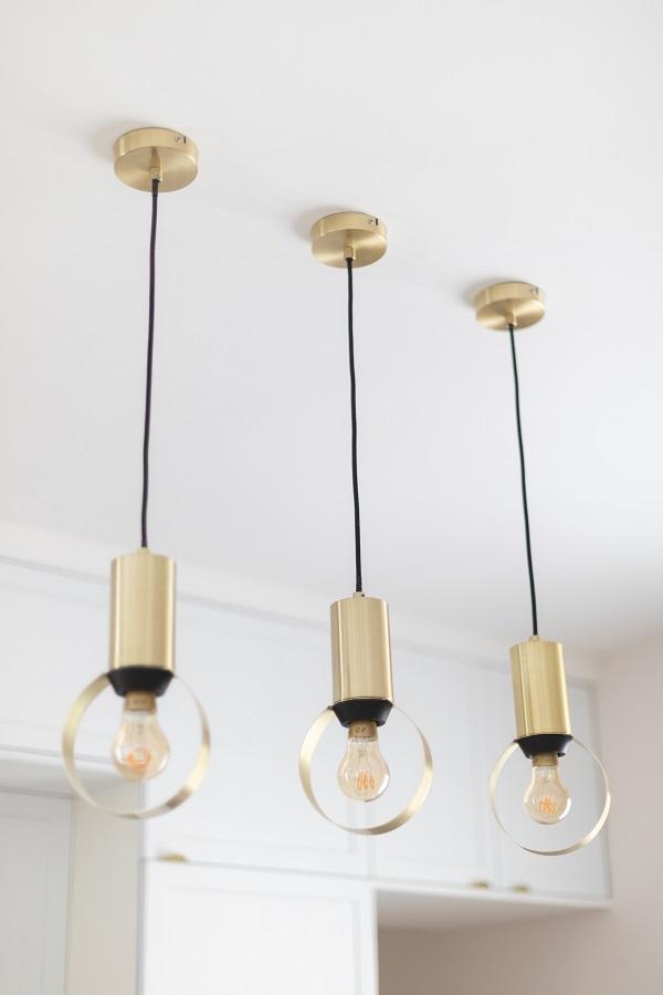 réalisation Seguin luminaire cuisine doré