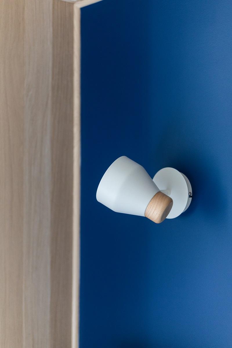 réalisation Seguin chambre bleu luminaire