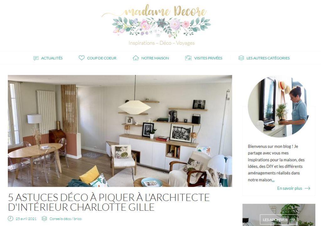 article parution blog deco madame decore projet Station Colombes